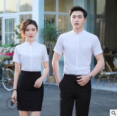 夏季流行款男士短袖白衬衫职业装衬衣套装女办公室工作服工厂定制