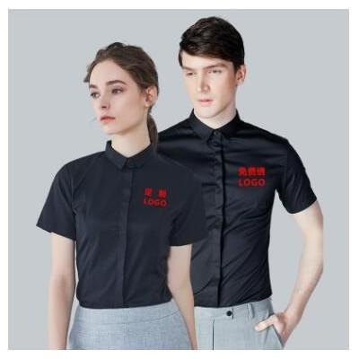 衬衣定制绣LOGO男女同款夏季短袖免烫小方领暗扣无口袋工作服衬衫