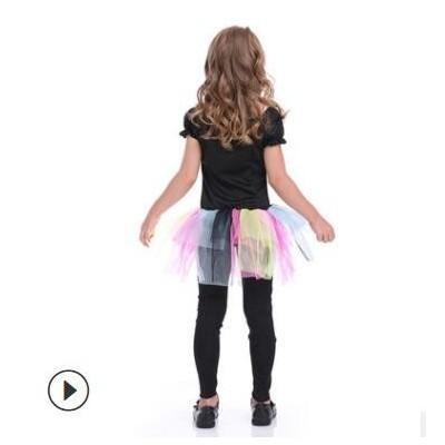 万圣节儿童可爱彩色骷髅连体衣吓人骨架鬼怪幽灵庞克女孩短裙服装