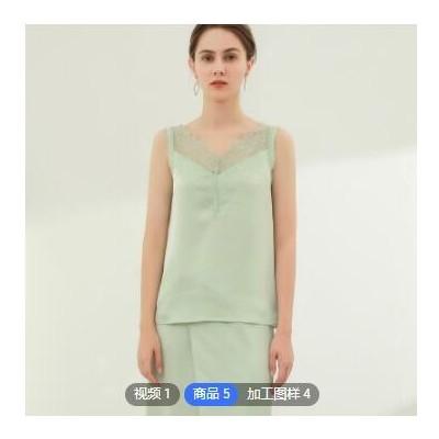 2021夏季新款女装定制休闲短袖上衣蕾丝拼接小背心
