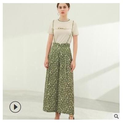 2021春季新款女装定制宽松型显瘦吊带阔腿裤批发