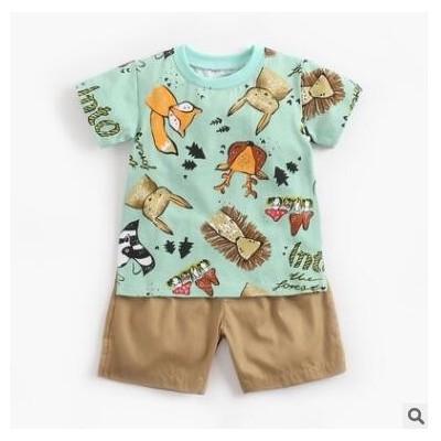 婴儿套装夏季男寶寶卡通短袖T恤+短裤韩版童装两件 ins儿童衣服