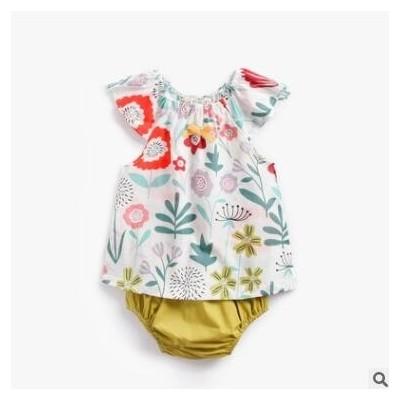 婴儿两件套夏天纯棉婴童t恤短袖碎花纯棉韩版童装baby clothing