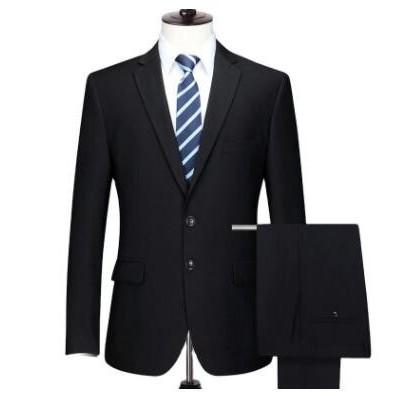 新单双扣男商务西服套装藏青结婚礼服伴郞修身职业正装工作服批发