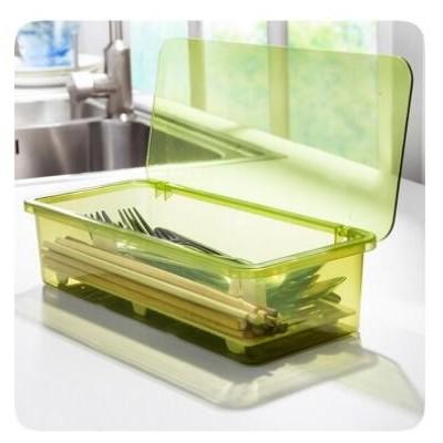 盒装 沥水防尘餐具收纳盒 简约时尚筷子盒 厨房收纳用品 塑料筷笼