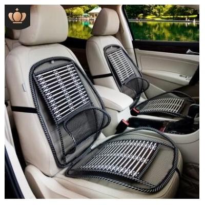 夏季汽车连体钢丝坐垫 车载按摩竹丝靠垫家车两用透气腰靠座垫